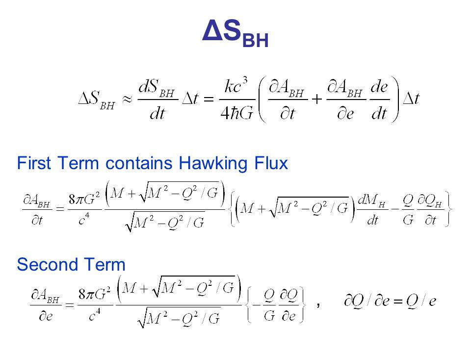 ΔS BH First Term contains Hawking Flux Second Term,