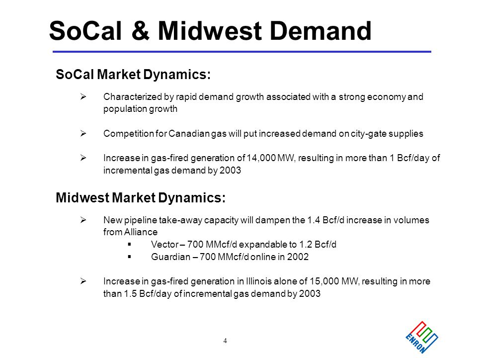 4 SoCal & Midwest Demand SoCal Market Dynamics:  Characterized by rapid demand growth associated with a strong economy and population growth  Competition for Canadian gas will put increased demand on city-gate supplies  Increase in gas-fired generation of 14,000 MW, resulting in more than 1 Bcf/day of incremental gas demand by 2003 Midwest Market Dynamics:  New pipeline take-away capacity will dampen the 1.4 Bcf/d increase in volumes from Alliance  Vector – 700 MMcf/d expandable to 1.2 Bcf/d  Guardian – 700 MMcf/d online in 2002  Increase in gas-fired generation in Illinois alone of 15,000 MW, resulting in more than 1.5 Bcf/day of incremental gas demand by 2003