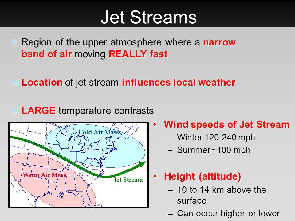 Jet Streams Wind speeds of Jet StreamWind speeds of Jet Stream –Winter 120-240 mph –Summer ~100 mph Height (altitude)Height (altitude) –10 to 14 km ab