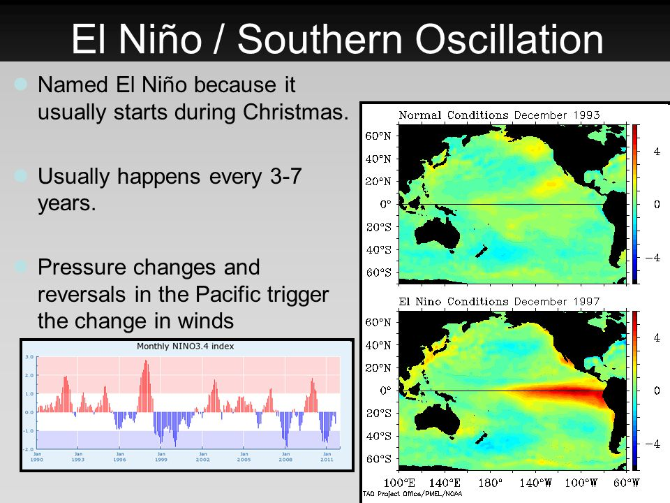El Niño / Southern Oscillation Named El Niño because it usually starts during Christmas. Usually happens every 3-7 years. Pressure changes and reversa