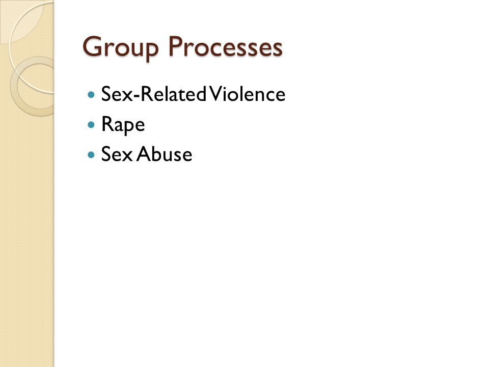 Group Processes Sex-Related Violence Rape Sex Abuse
