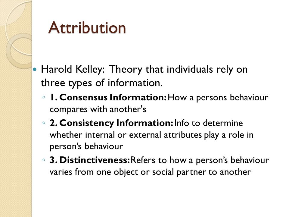 Attribution Harold Kelley: Theory that individuals rely on three types of information.