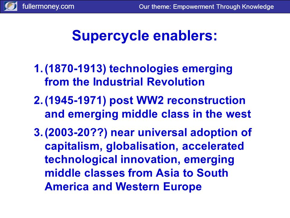 fullermoney.com Our theme: Empowerment Through Knowledge Supercycle enablers: 1.(1870-1913) technologies emerging from the Industrial Revolution 2.(19