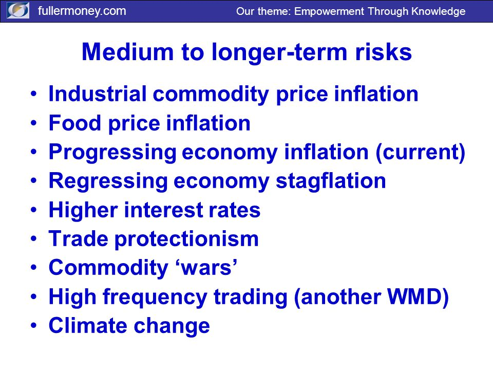 fullermoney.com Our theme: Empowerment Through Knowledge Medium to longer-term risks Industrial commodity price inflation Food price inflation Progres