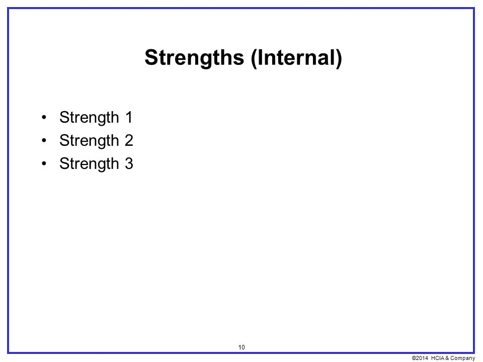 ©2014 HCIA & Company 10 Strengths (Internal) Strength 1 Strength 2 Strength 3