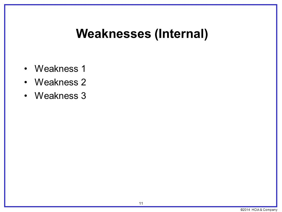 ©2014 HCIA & Company 11 Weaknesses (Internal) Weakness 1 Weakness 2 Weakness 3