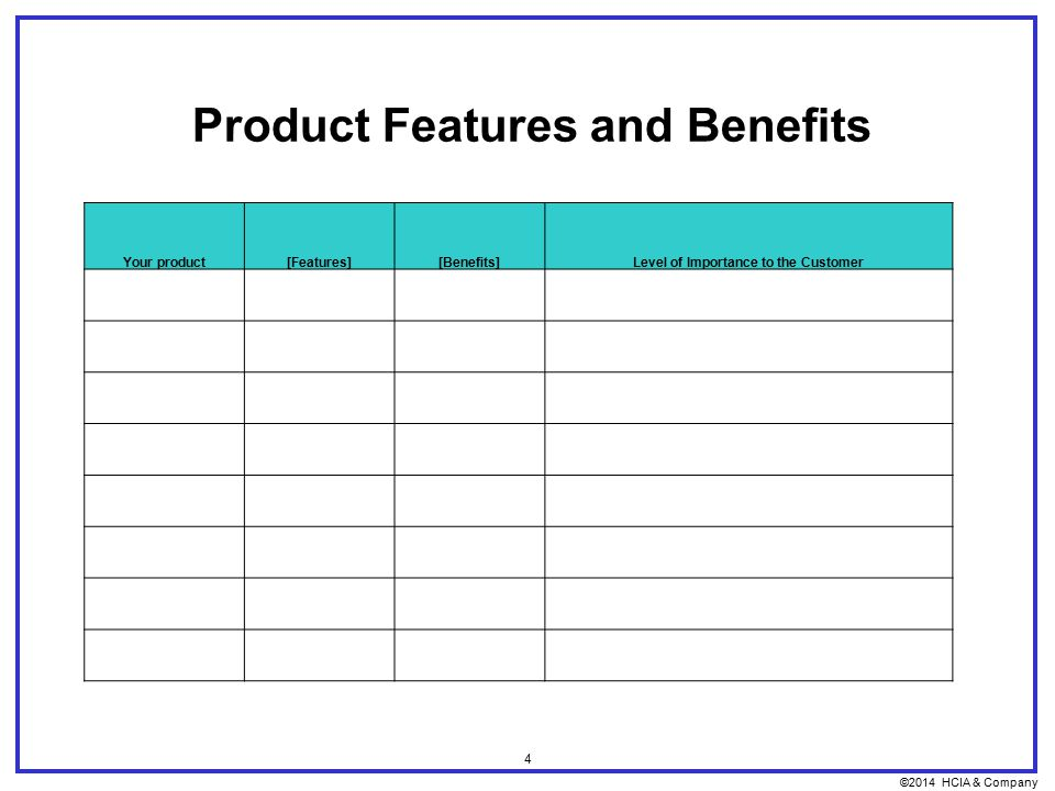 ©2014 HCIA & Company 4 Product Features and Benefits Your product[Features][Benefits]Level of Importance to the Customer