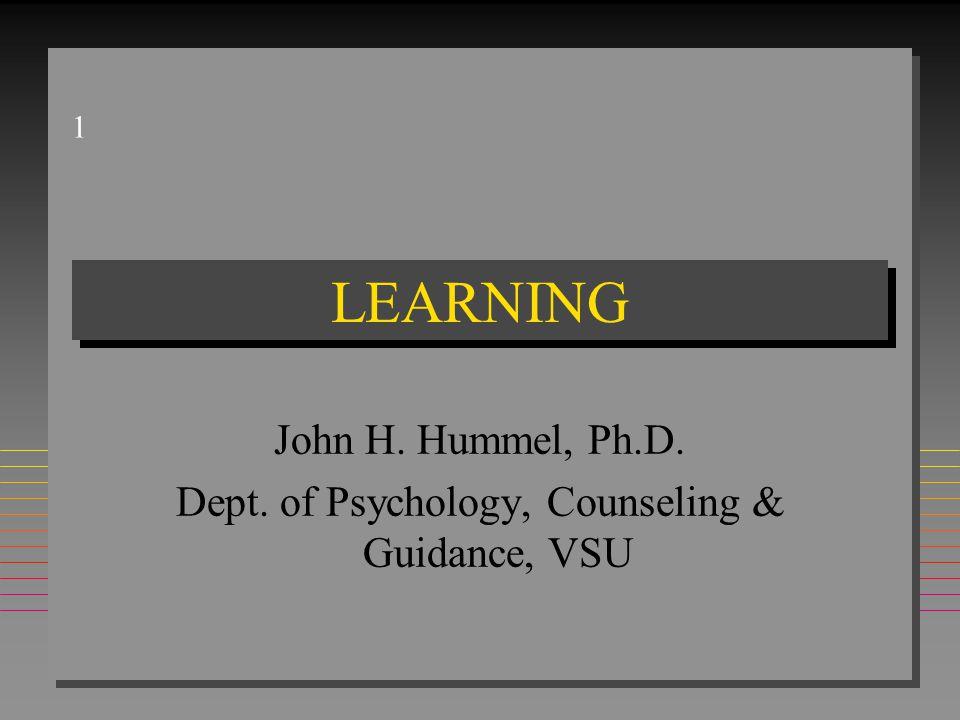 1 LEARNING John H. Hummel, Ph.D. Dept. of Psychology, Counseling & Guidance, VSU