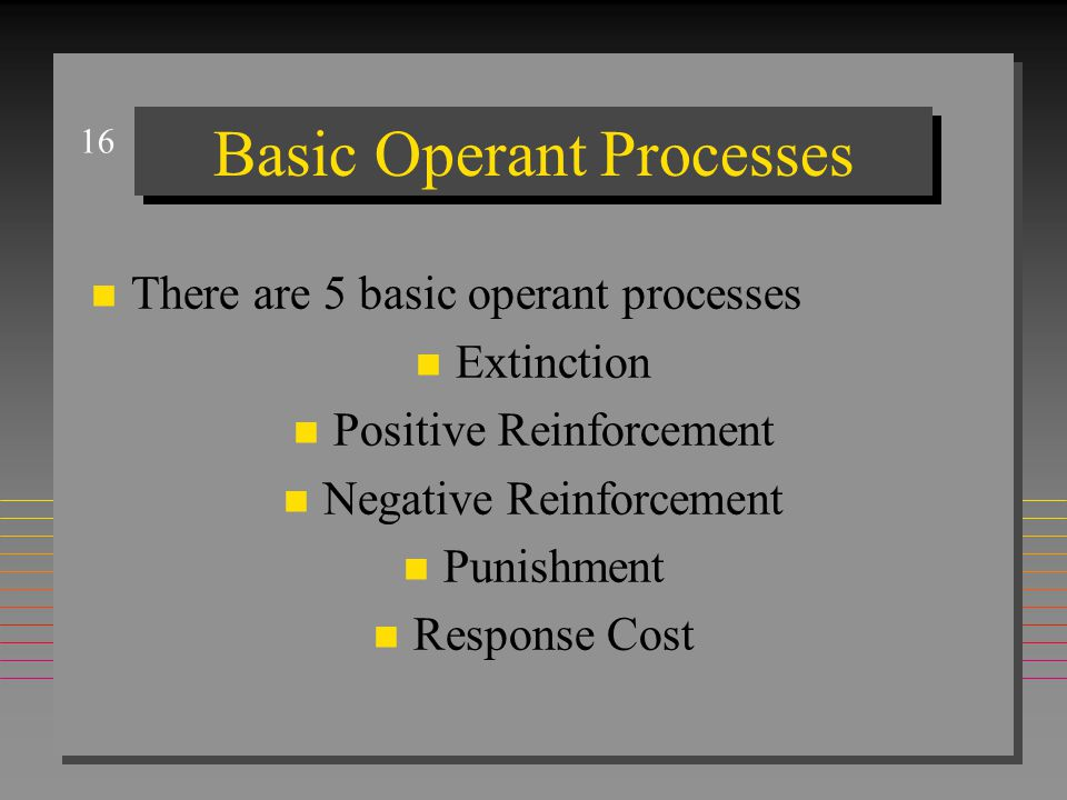 16 Basic Operant Processes n There are 5 basic operant processes n Extinction n Positive Reinforcement n Negative Reinforcement n Punishment n Respons