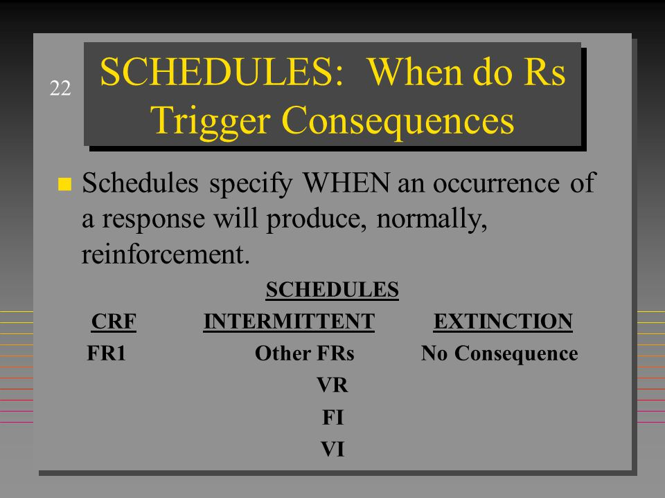 22 SCHEDULES: When do Rs Trigger Consequences n Schedules specify WHEN an occurrence of a response will produce, normally, reinforcement. SCHEDULES CR