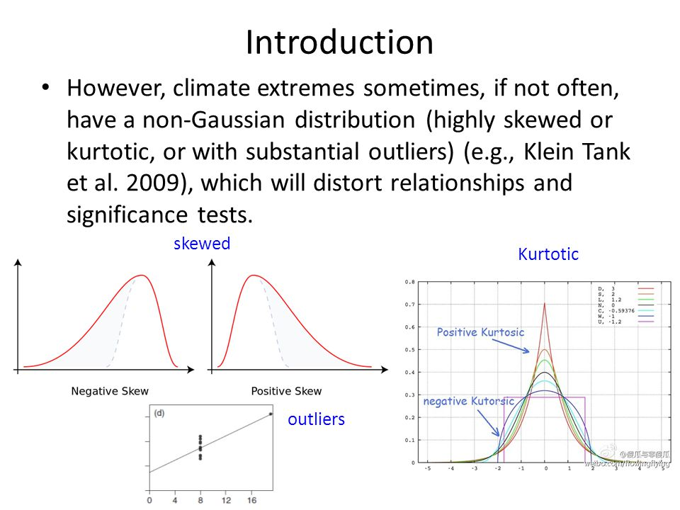 Introduction However, climate extremes sometimes, if not often, have a non-Gaussian distribution (highly skewed or kurtotic, or with substantial outliers) (e.g., Klein Tank et al.