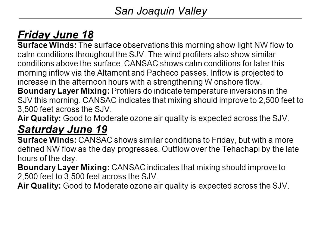 San Joaquin Valley Friday June 18 Surface Winds: The surface observations this morning show light NW flow to calm conditions throughout the SJV. The w