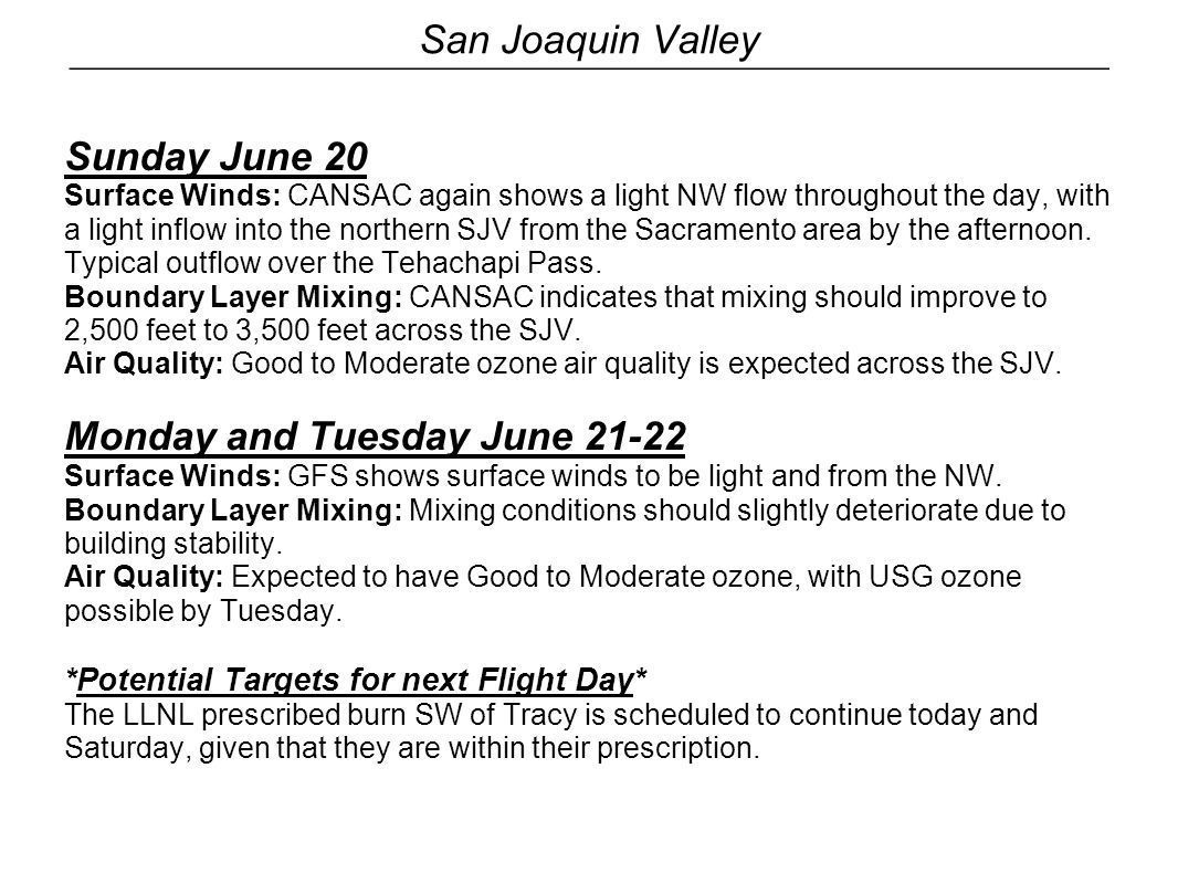 San Joaquin Valley Sunday June 20 Surface Winds: CANSAC again shows a light NW flow throughout the day, with a light inflow into the northern SJV from
