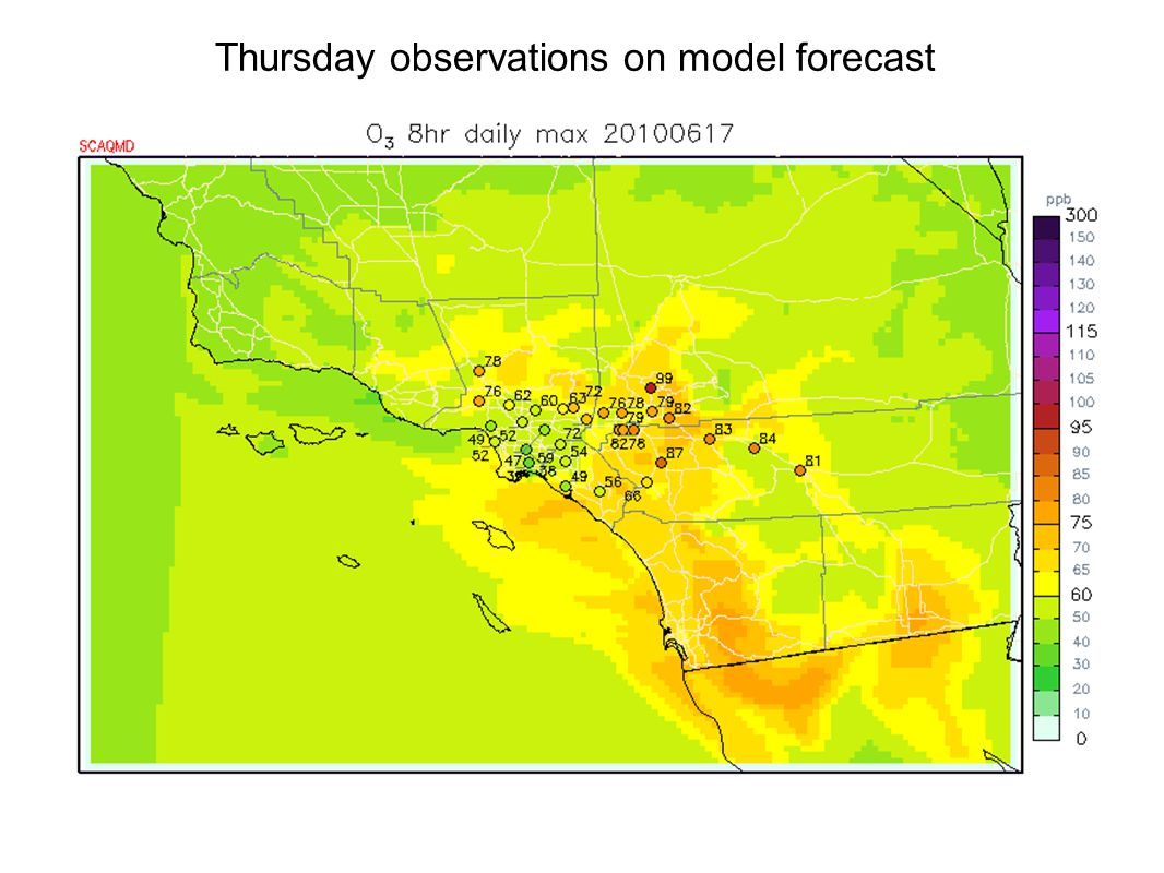 Thursday observations on model forecast