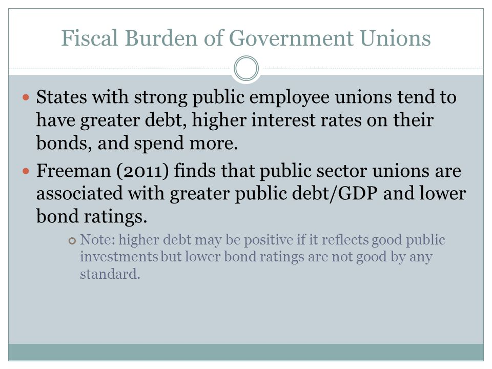 Fiscal Burden of Government Unions States with strong public employee unions tend to have greater debt, higher interest rates on their bonds, and spend more.