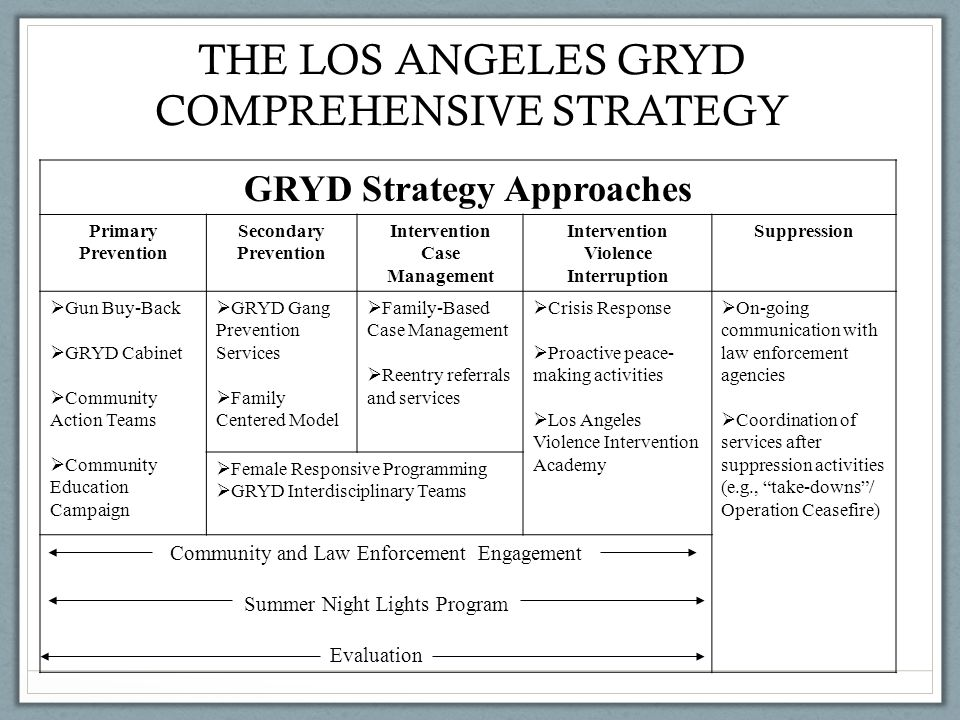 THE LOS ANGELES GRYD COMPREHENSIVE STRATEGY GRYD Strategy Approaches Primary Prevention Secondary Prevention Intervention Case Management Intervention Violence Interruption Suppression  Gun Buy-Back  GRYD Cabinet  Community Action Teams  Community Education Campaign  GRYD Gang Prevention Services  Family Centered Model  Family-Based Case Management  Reentry referrals and services  Crisis Response  Proactive peace- making activities  Los Angeles Violence Intervention Academy  On-going communication with law enforcement agencies  Coordination of services after suppression activities (e.g., take-downs / Operation Ceasefire)  Female Responsive Programming  GRYD Interdisciplinary Teams Community and Law Enforcement Engagement Summer Night Lights Program Evaluation