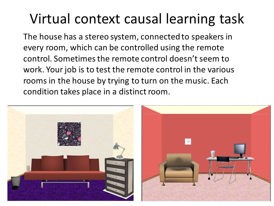 Virtual context causal learning task The house has a stereo system, connected to speakers in every room, which can be controlled using the remote control.