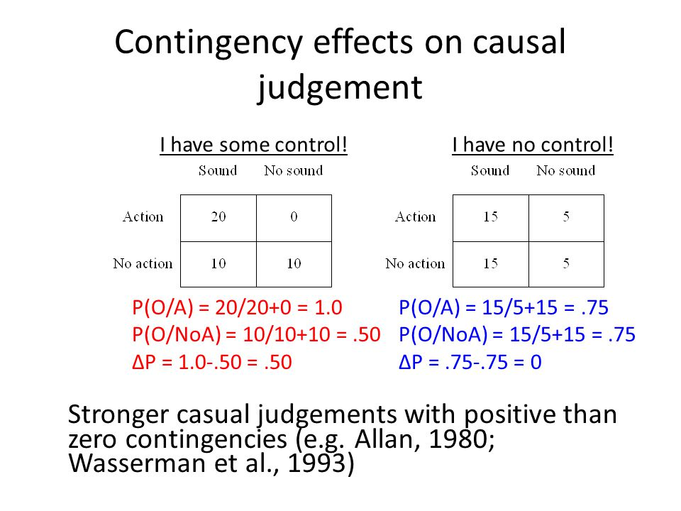 Time effects on causal judgements A-O delay Weaken or eliminate perception of cause (e.g., Shanks, Pearson & Dickinson, 1989) Cause determined by action-outcome association.