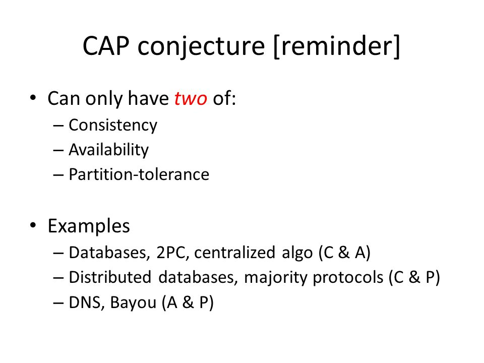 CAP theorem Formalization by Gilbert & Lynch What does impossible mean.