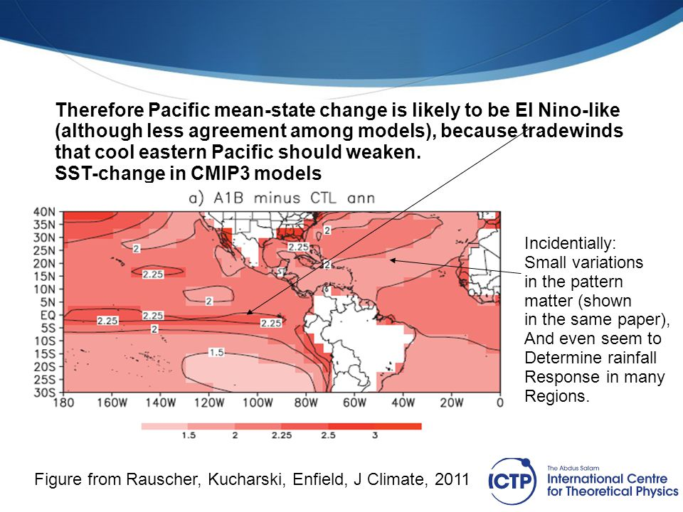 Therefore Pacific mean-state change is likely to be El Nino-like (although less agreement among models), because tradewinds that cool eastern Pacific