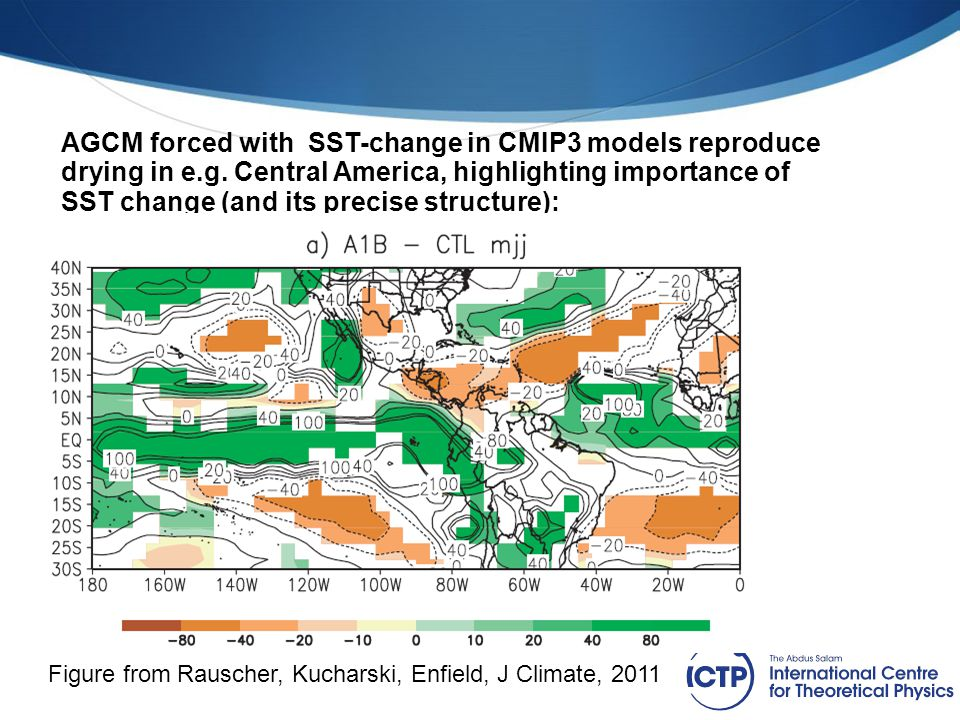 AGCM forced with SST-change in CMIP3 models reproduce drying in e.g. Central America, highlighting importance of SST change (and its precise structure