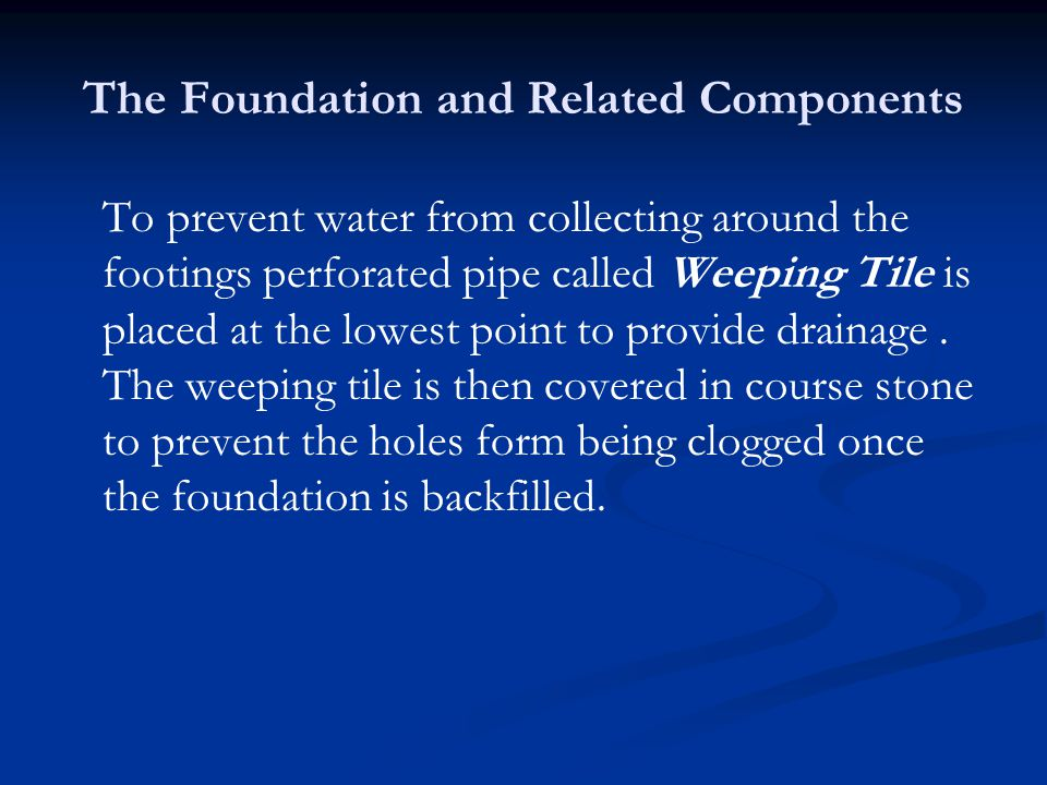 To prevent water from collecting around the footings perforated pipe called Weeping Tile is placed at the lowest point to provide drainage.