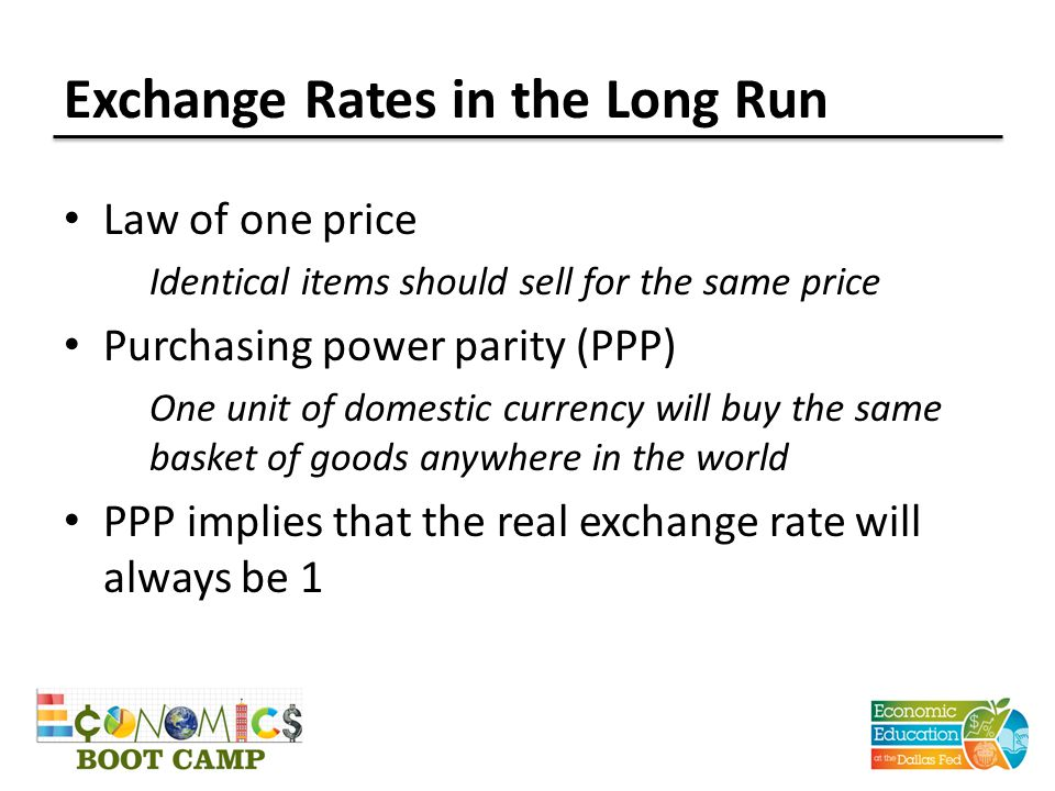 Exchange Rates in the Long Run Law of one price Identical items should sell for the same price Purchasing power parity (PPP) One unit of domestic currency will buy the same basket of goods anywhere in the world PPP implies that the real exchange rate will always be 1