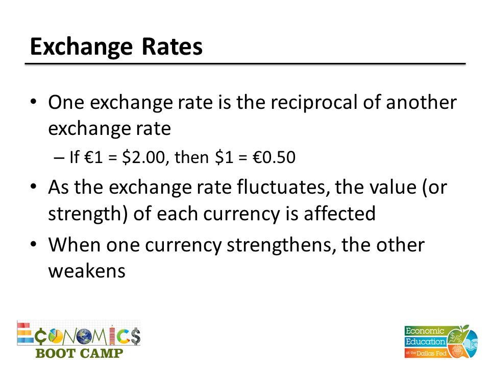 Weakening Dollar / Strengthening Euro Value of $1 = €1.00 (or €1 = $1.00) U.S.