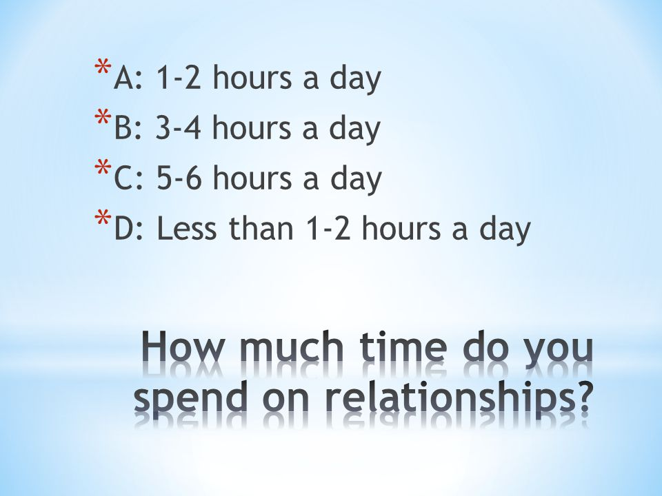 * A: 1-2 hours a day * B: 3-4 hours a day * C: 5-6 hours a day * D: Less than 1-2 hours a day