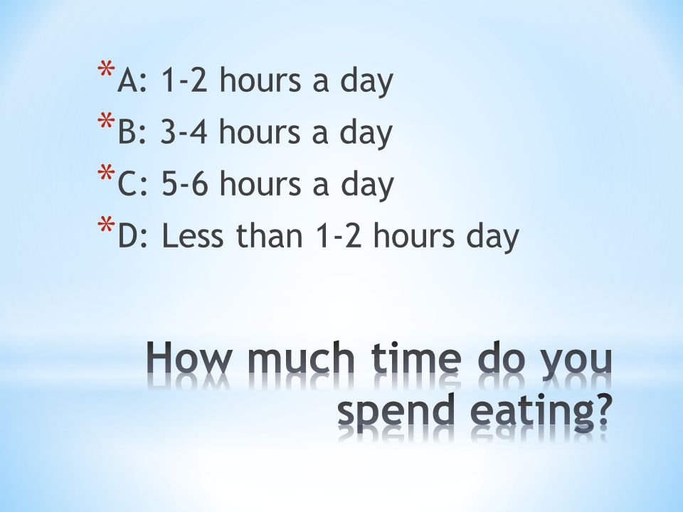* A: 1-2 hours a day * B: 3-4 hours a day * C: 5-6 hours a day * D: Less than 1-2 hours day