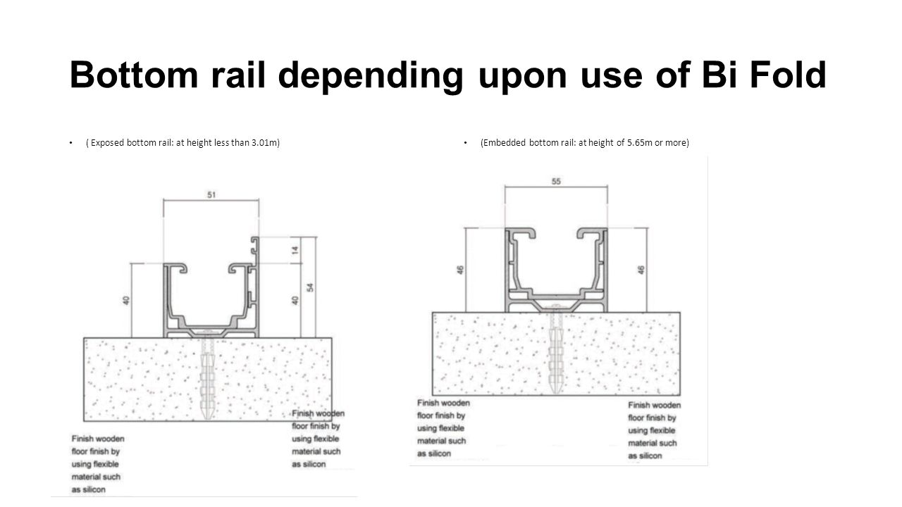 Bottom rail depending upon use of Bi Fold ( Exposed bottom rail: at height less than 3.01m) (Embedded bottom rail: at height of 5.65m or more)