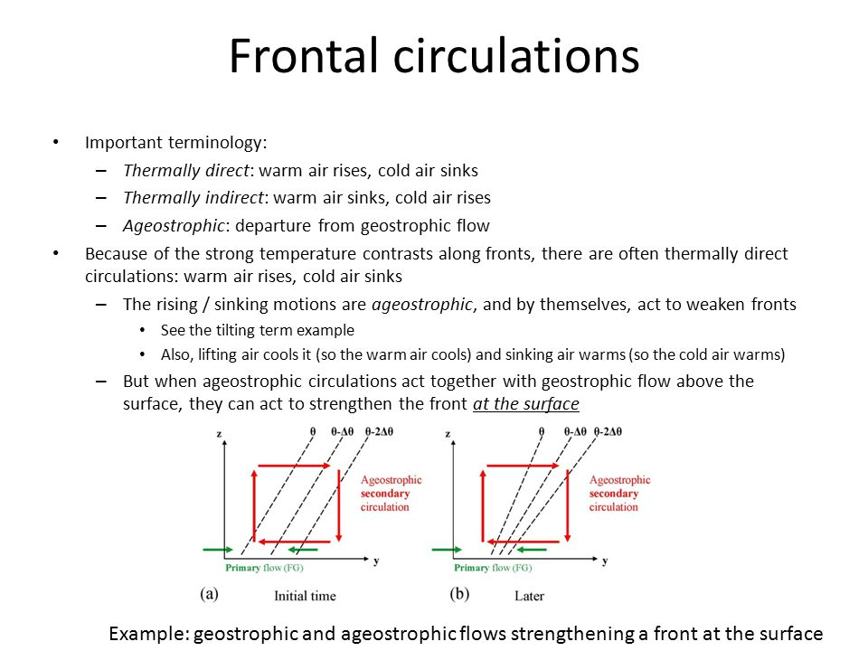 Frontal circulations Important terminology: – Thermally direct: warm air rises, cold air sinks – Thermally indirect: warm air sinks, cold air rises –
