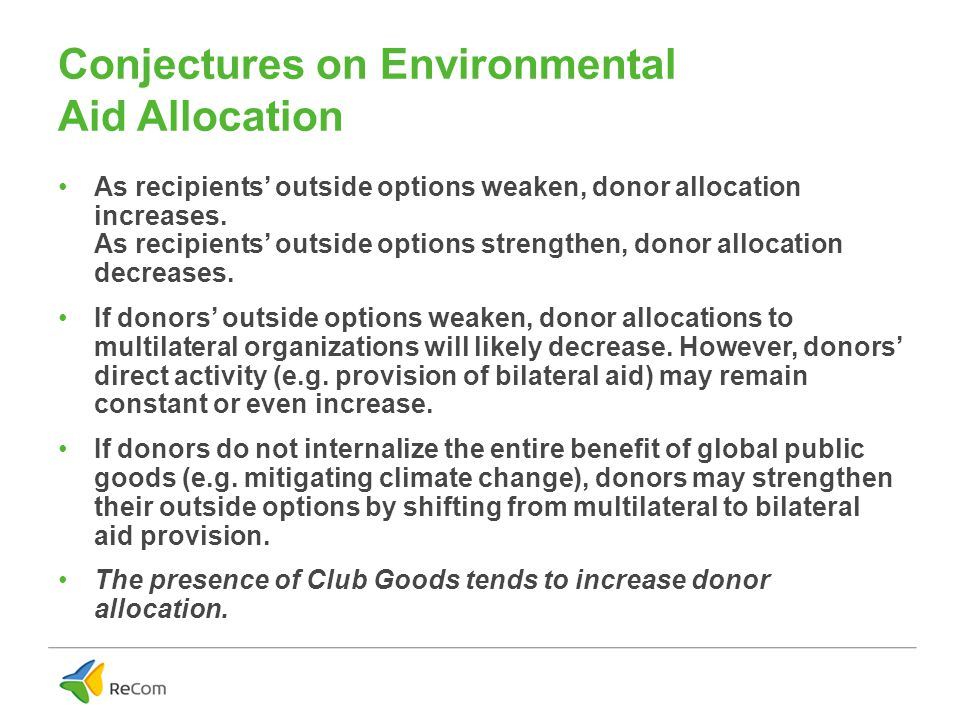 Conjectures on Environmental Aid Allocation As recipients' outside options weaken, donor allocation increases.