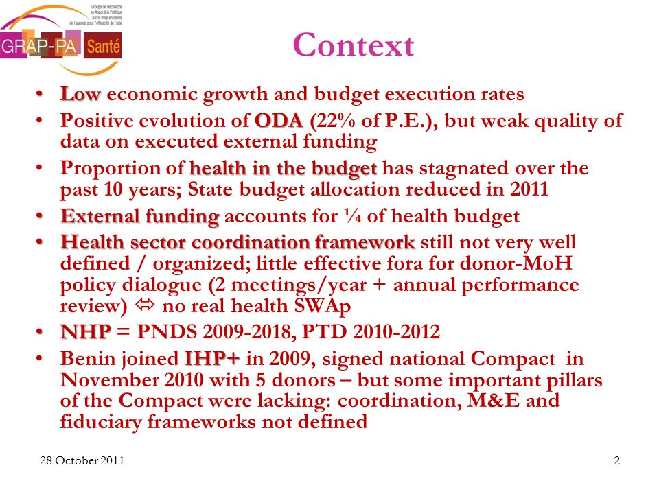 28 October 2011 Context LowLow economic growth and budget execution rates ODAPositive evolution of ODA (22% of P.E.), but weak quality of data on executed external funding health in the budgetProportion of health in the budget has stagnated over the past 10 years; State budget allocation reduced in 2011 External fundingExternal funding accounts for ¼ of health budget Health sector coordination frameworkHealth sector coordination framework still not very well defined / organized; little effective fora for donor-MoH policy dialogue (2 meetings/year + annual performance review)  no real health SWAp NHPNHP = PNDS 2009-2018, PTD 2010-2012 IHP+Benin joined IHP+ in 2009, signed national Compact in November 2010 with 5 donors – but some important pillars of the Compact were lacking: coordination, M&E and fiduciary frameworks not defined 2