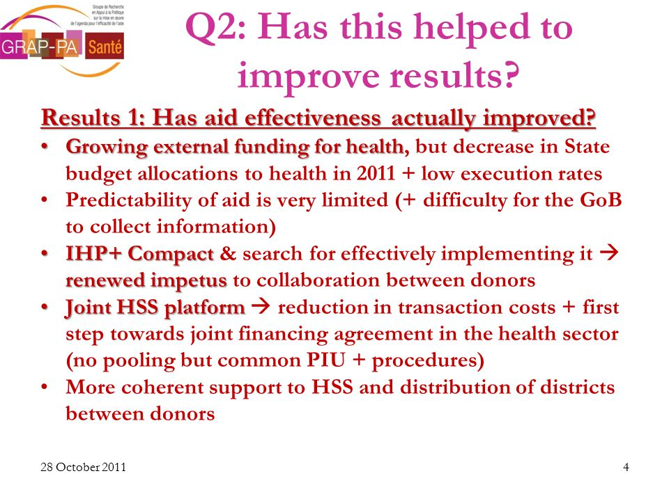 Q2: Has this helped to improve results. Results 1: Has aid effectiveness actually improved.