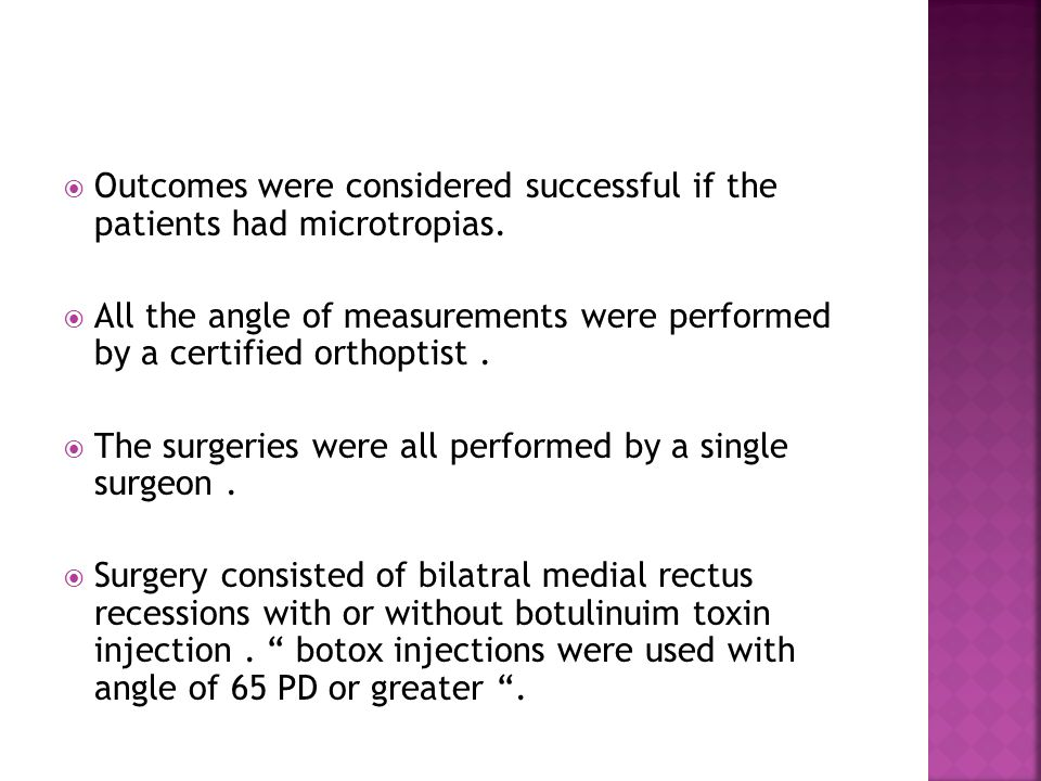  Outcomes were considered successful if the patients had microtropias.