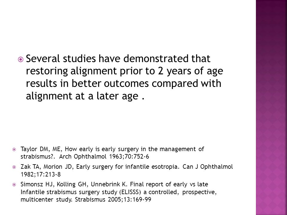  Some strabismus surgeons postpone surgery until the angle of deviation stabilizes.
