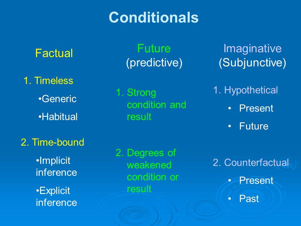 Conditionals Factual Future (predictive) Imaginative (Subjunctive) 1.