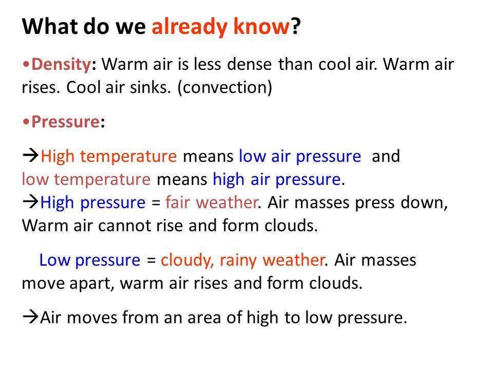 What do we already know. Density: Warm air is less dense than cool air.