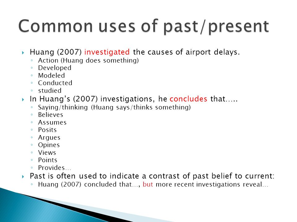  Huang (2007) investigated the causes of airport delays.
