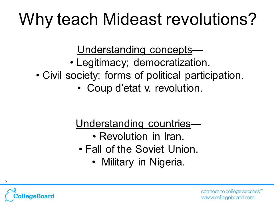 2 Understanding concepts— Legitimacy; democratization.