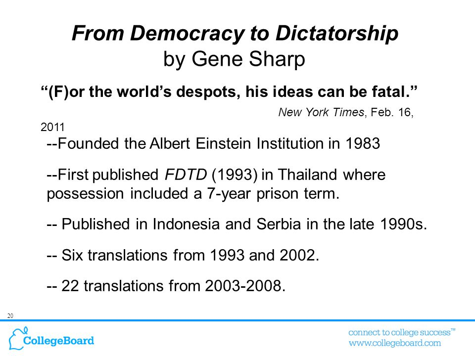 20 (F)or the world's despots, his ideas can be fatal. New York Times, Feb.