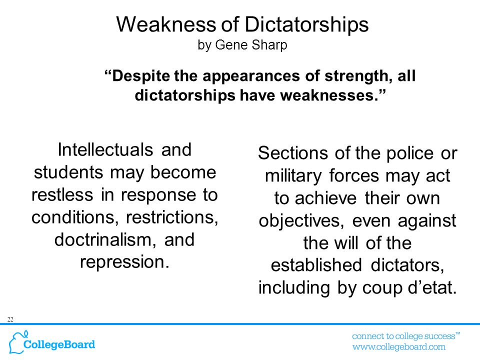 22 Weakness of Dictatorships by Gene Sharp Intellectuals and students may become restless in response to conditions, restrictions, doctrinalism, and repression.