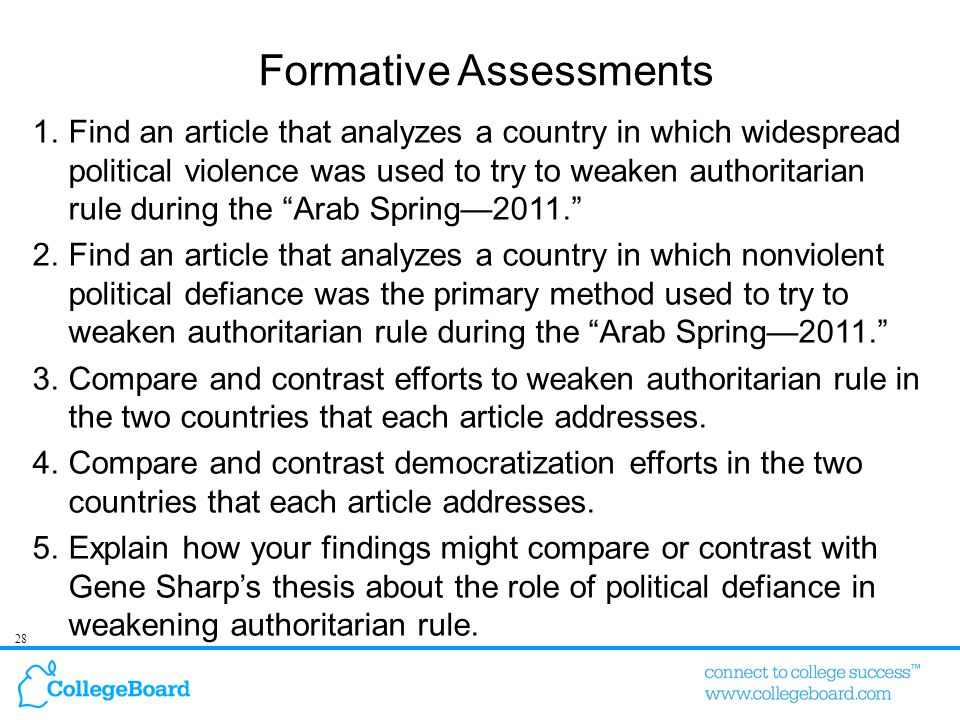 28 Formative Assessments 1.Find an article that analyzes a country in which widespread political violence was used to try to weaken authoritarian rule during the Arab Spring—2011. 2.Find an article that analyzes a country in which nonviolent political defiance was the primary method used to try to weaken authoritarian rule during the Arab Spring—2011. 3.Compare and contrast efforts to weaken authoritarian rule in the two countries that each article addresses.