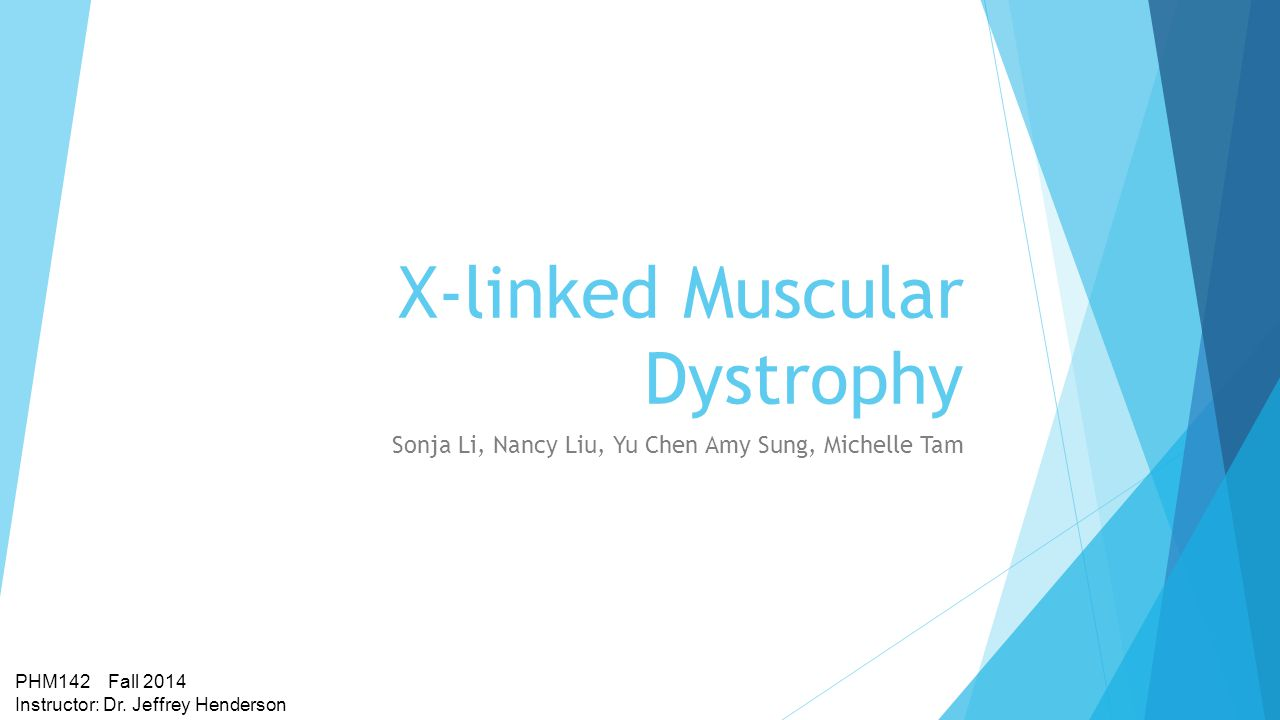 X-linked Muscular Dystrophy Sonja Li, Nancy Liu, Yu Chen Amy Sung, Michelle Tam PHM142 Fall 2014 Instructor: Dr.