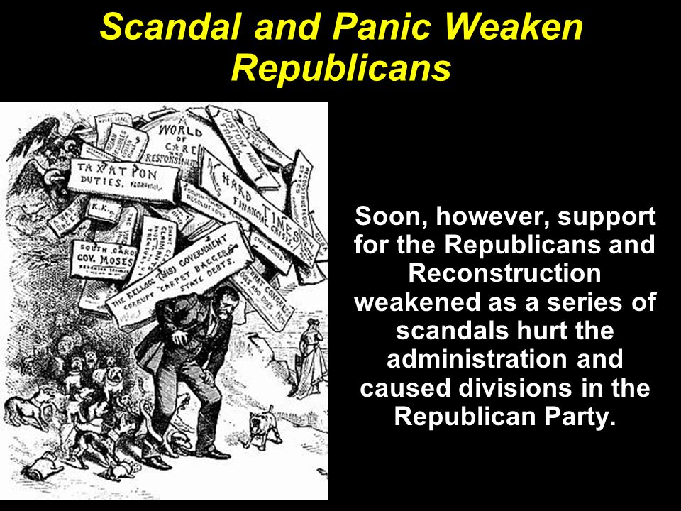 Scandal and Panic Weaken Republicans Soon, however, support for the Republicans and Reconstruction weakened as a series of scandals hurt the administr
