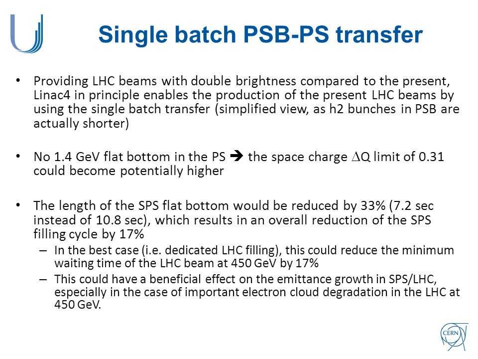 Single batch PSB-PS transfer Providing LHC beams with double brightness compared to the present, Linac4 in principle enables the production of the present LHC beams by using the single batch transfer (simplified view, as h2 bunches in PSB are actually shorter) No 1.4 GeV flat bottom in the PS  the space charge  Q limit of 0.31 could become potentially higher The length of the SPS flat bottom would be reduced by 33% (7.2 sec instead of 10.8 sec), which results in an overall reduction of the SPS filling cycle by 17% – In the best case (i.e.