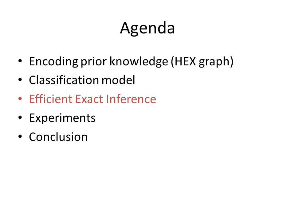 Agenda Encoding prior knowledge (HEX graph) Classification model Efficient Exact Inference Experiments Conclusion
