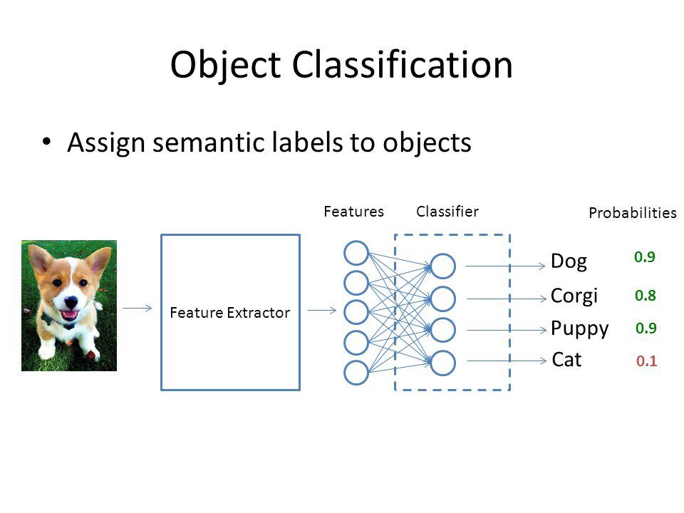 Object Classification Multiclass classifier: Softmax Corgi Puppy Dog Cat / / / / + Assumes mutual exclusive labels.
