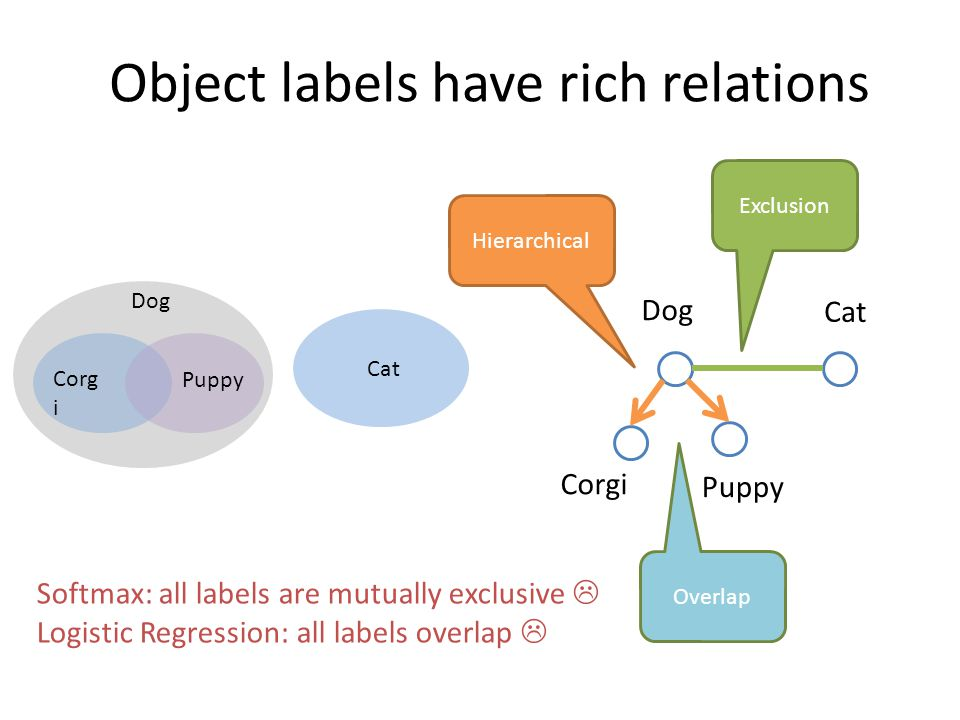 Object labels have rich relations Corgi Puppy Dog Cat Exclusion Hierarchical Dog Cat Corg i Puppy Overlap Softmax: all labels are mutually exclusive  Logistic Regression: all labels overlap 